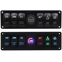 Waterproof 6 Gang Switches Panel Voltmeter Cigarette Socket Double USB Power Charger Adapter Flush Mount Car