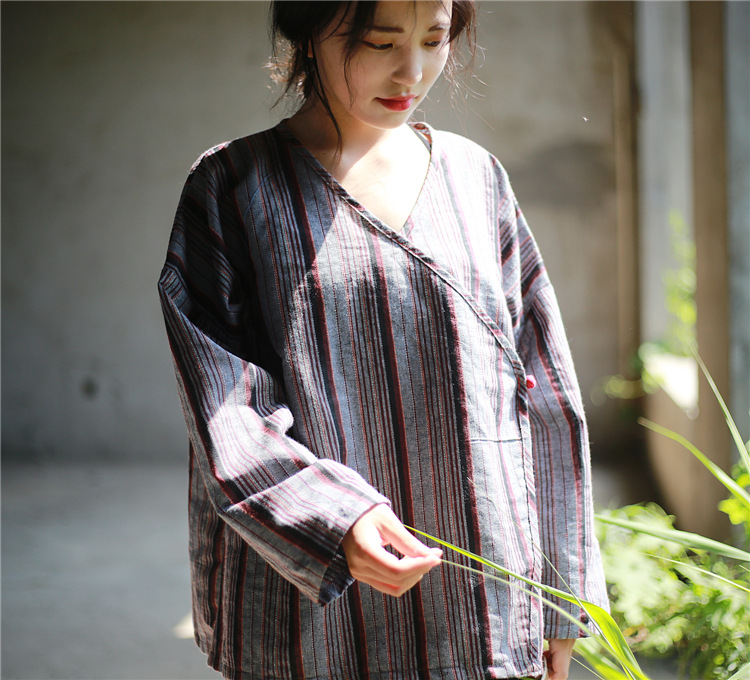 3aed0b2c92 Ethnic Style Mori Girl Vintage Long Sleeve Autumn Striped Button Shirt V  neck Loose Plus Size Women Shirt Blouse Femme Tunic Top-in Blouses   Shirts  from ...