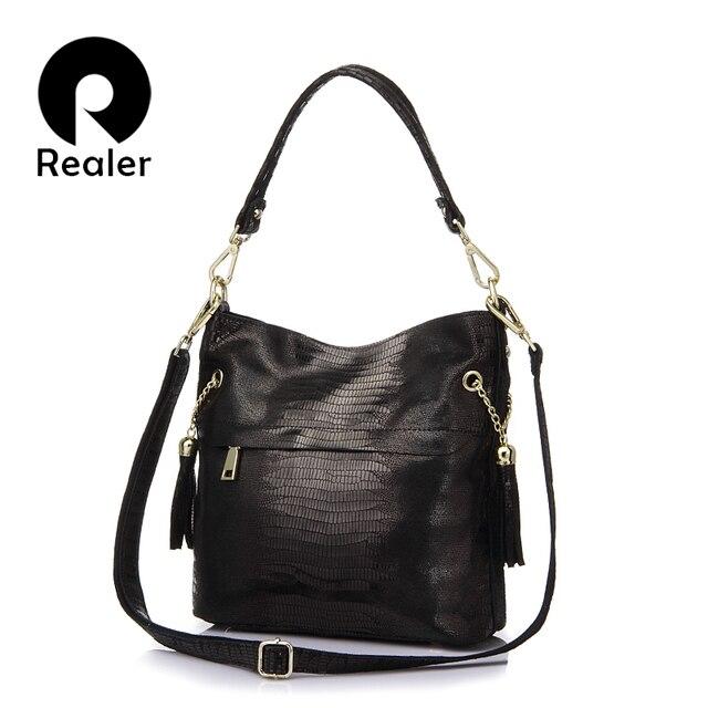 REALER женская сумка через плечо из натуральной кожи с крокодиловым узором и кисточками, маленькие сумки женские натуральная кожа