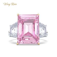 וונג גשם רומנטי 100% 925 סטרלינג כסף ורוד ספיר חן חתונת אירוסין טבעת תכשיטים סיטונאי Drop חינם