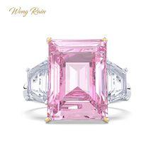 Wong 비 로맨틱 100% 925 스털링 실버 핑크 사파이어 보석 웨딩 약혼 반지 파인 쥬얼리 도매 드롭 배송
