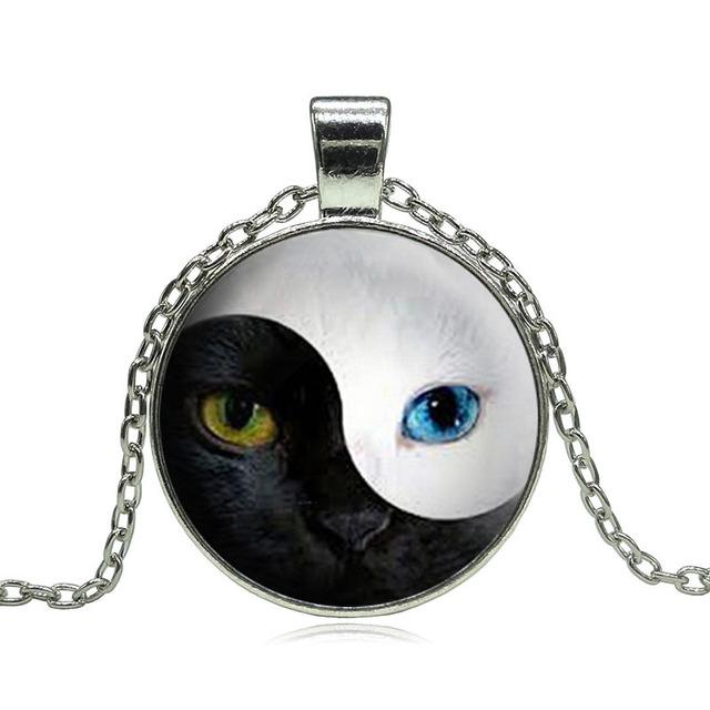 YIN YANG Cat Pendant Necklace Blue Cat Eye Silver Glass Dome