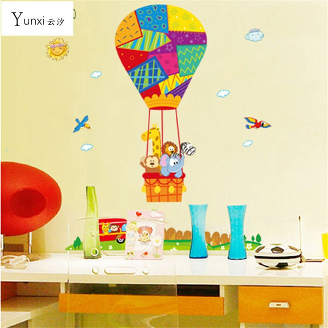 Yunxi Removable Hot Air Balloon Small Animal Nursery Room Wall Stickers Cartoon Children S Home Decor