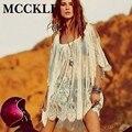 Mcckle mulheres beach dress sexy strap sheer floral lace off the shoulder hippie boemia dress vestidos das senhoras vestidos de verão praia