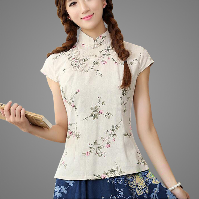 New Arrival Multicolor Ladies' Cotton Linen Short Sleeve Shirt Floral Blouse Chinese Novelty  Women's  Silm Tops S -XXL WN854