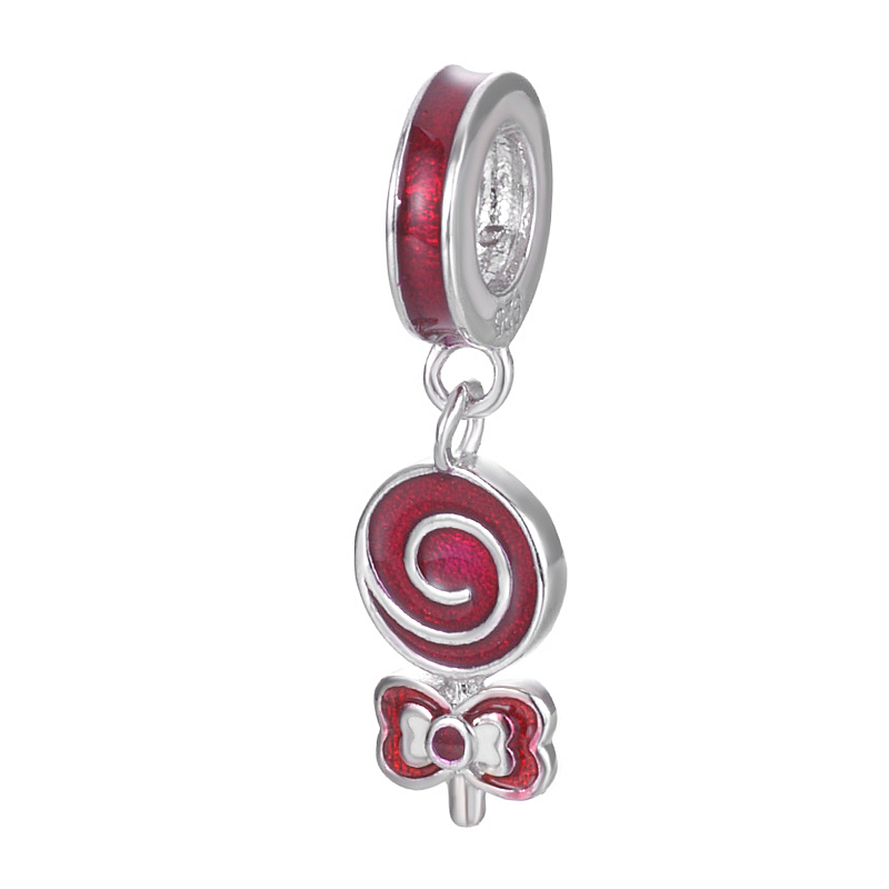 Sweet Dream Original New Brand Enamel Red Candy Design Accessories For Bracelet Or Necklace S925 Sterling Silver Charm