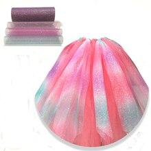 10yard 15cm Glitter Rainbow Tulle Roll Organza Fabric Spool Craft Tutu Skirt Birthday Wedding Decor DIY Party Supplies