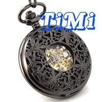Bán buôn Vàng Skeleton Unisex Pocket Watch Súng Mô Hình-màu freeship