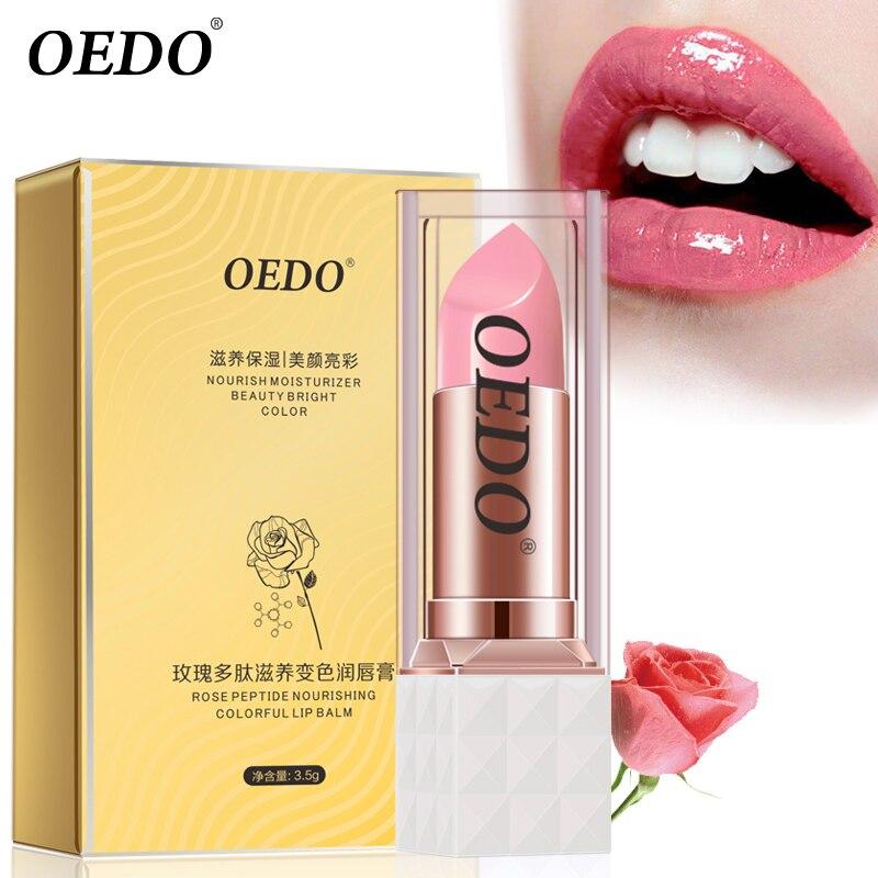 Rosa Colorida Lip Balm Nutritivo Anti Envelhecimento Peptídeo Anticongelante Anti-rachada Maquiagem Rosto Cuidados Com A Pele Reparação Danos Lábio Úmido creme