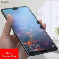 EXUNTON No huella digital mate templado de vidrio para Huawei P20 P10 Lite P9 P10Plus P9 P20Pro P8 Lite 2017 P Protector Pantalla inteligente