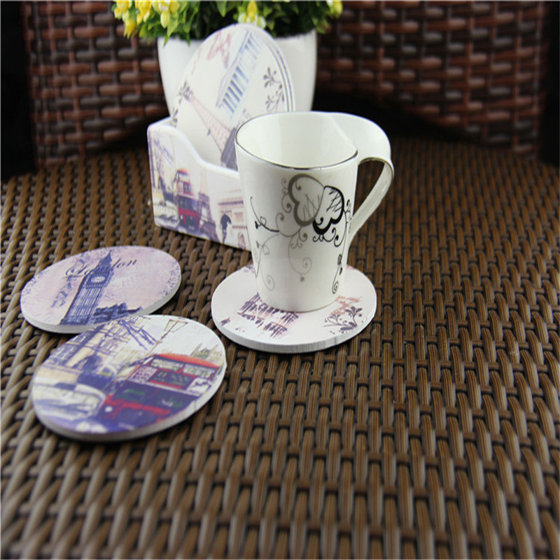 High-class vintage printed coaster set with 6pcs wooden cup mats and 1 cup pad holder multi styles for option