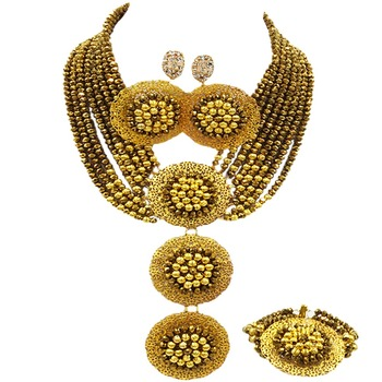 Golden Brown African Beads Jewelry Set Crystal Beaded Necklace Bracelet Earrings Nigerian Wedding Party Jewelry Sets 8C-3PH003