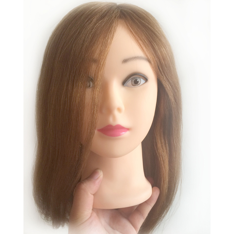 16 inches 100% human hair Practice Hairdressing Training Head Mannequin training head human hair training head image