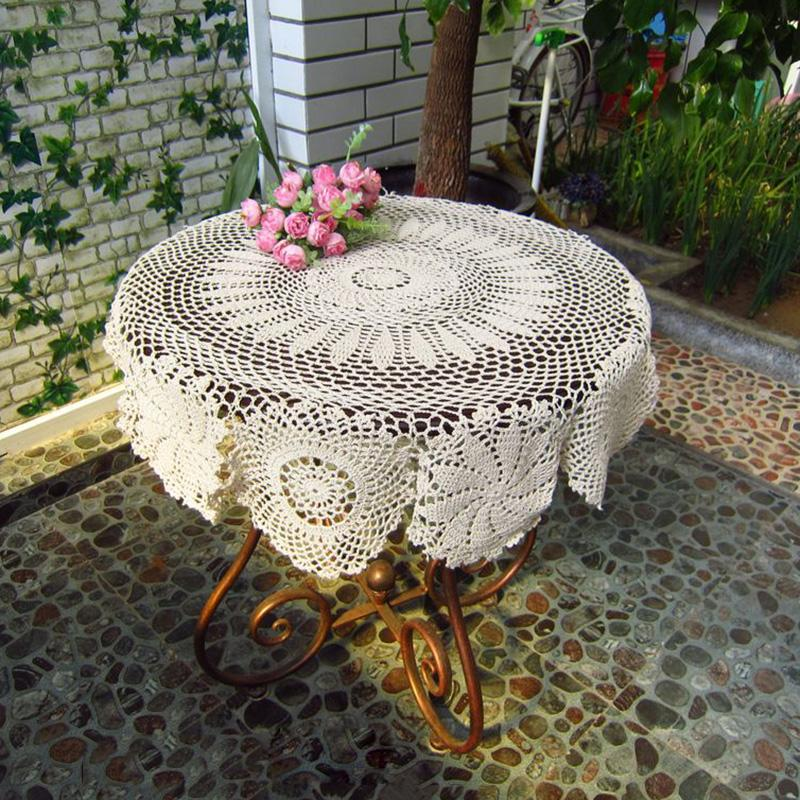 Handmade Crochet Tablecloth Round Tablecloths Vintage Weave Table