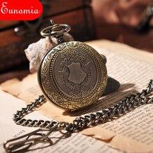 3244388f98d Escudo de Bronze Hunter Completa Homens Relógio de Bolso Steampunk  Esqueleto Legal Mão Mecânica Winding Relógio