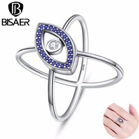 High Quality Genuine 925 Sterling Silver Ring Clear Cubic Zircon Blue Eyes Finger Rings For Women