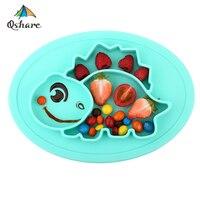 Qshare ベビー食器シリコーン幼児ボウルプレート食器子供食品ホルダートレイ子供食品容器プレイスマットを供給するための