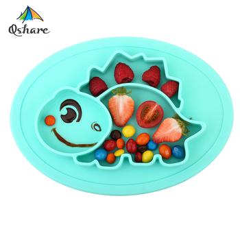 Qshare naczynia dla dzieci silikonowe miski dla niemowląt płyta zastawa stołowa dla dzieci pojemnik na żywność taca dla dzieci pojemnik na jedzenie podkładka na karmienie dziecka tanie i dobre opinie Obiadowy Dinosaur styling plate Zestaw obiadowy Ce ue Zwierząt Nitrosamine darmo Ftalanów BPA za darmo Usługi płyta tacy
