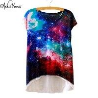 2016 Women T Shirt With 3D Universe Galaxy Print T Shirt Plus Size Harajuku Short Sleeve