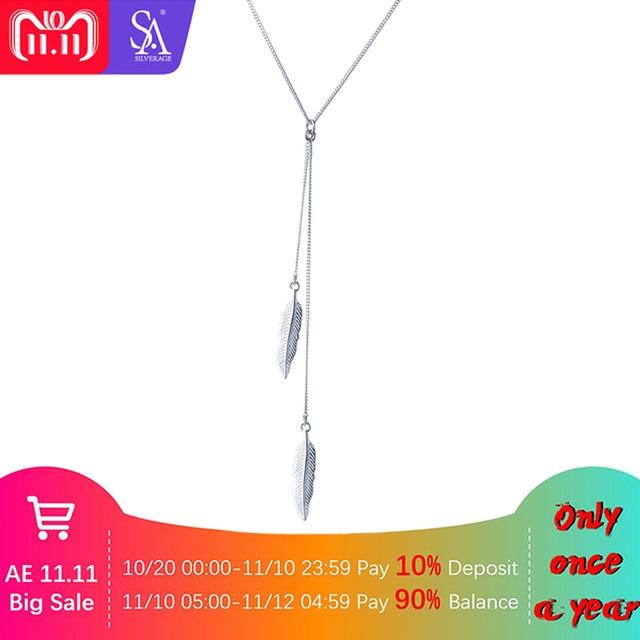 e97dba1bd4b7 SA sil 925 COLLAR COLGANTE de plumas de plata para mujer collar de plata de  ley