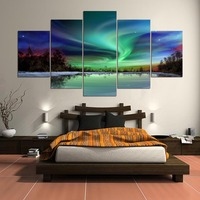 5 Panel HD Printed Painting The Most Beautiful Northern Lights Canvas Home Decor Wall Art Picture