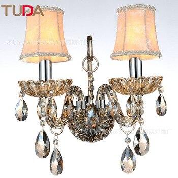 TUDA European LED Wall Lamp Restaurant Corridor Wrought Iron Wall Lamp Indoor Candle Crystal Wall Lamp E14 110V 220V