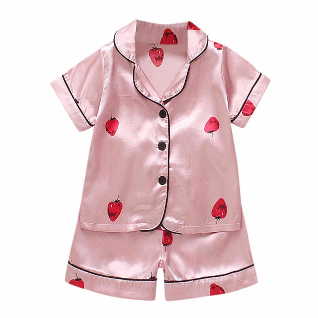 イチゴプリントパジャマ夏幼児キッズベビー少年少女漫画パジャマ Tシャツショーツ服 Se (ピンク)