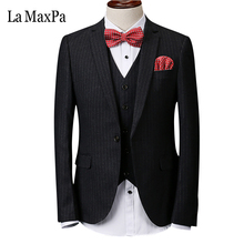 La MaxPa (jacket+pants+vest) 2017 model male singer males go well with wedding ceremony informal slim match groom promenade get together costume enterprise grid go well with