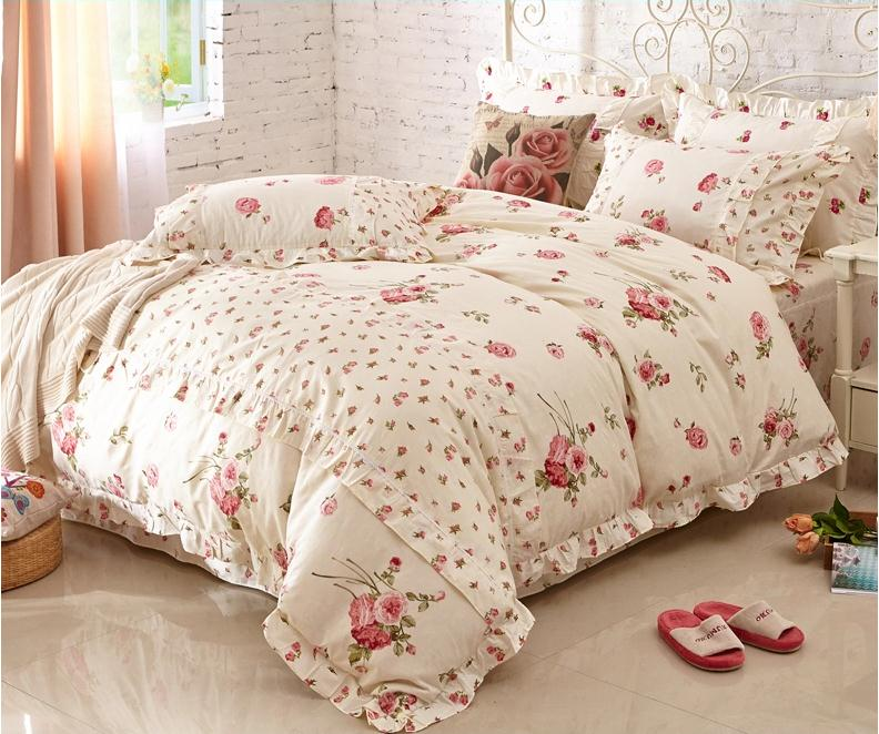 Home Textile, girls cotton Print bedding SET Beautiful Korean princess bedding sets Queen / King 4PCS bed linen ropa de cama