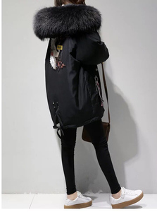 Image 5 - XL 4XL Black Thicken Wool Blends Coat Women Embroidery Jacket Cotton Long Hooded Neck Ladies Casual Coats Clothing Warm Winter