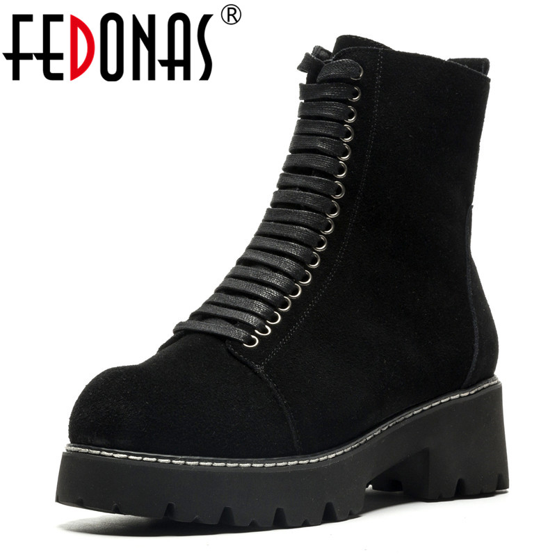 FEDONAS Fashion Quality Women Comfortable Chunky High Heels Zipper Ankle Boots Round Toe Autumn Winter Shoes Woman Zipper Boots цена 2017