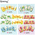 Gold & Blue & Pink Flower water nail decal Nail Art Stickers Tips Decal The colorful pattern full cover nail sticker