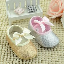 Glitter Baby Shoes Flash Gold Bow Soft Bottom Sneaker Anti-slip Soft Sole Toddler zapatos bebe