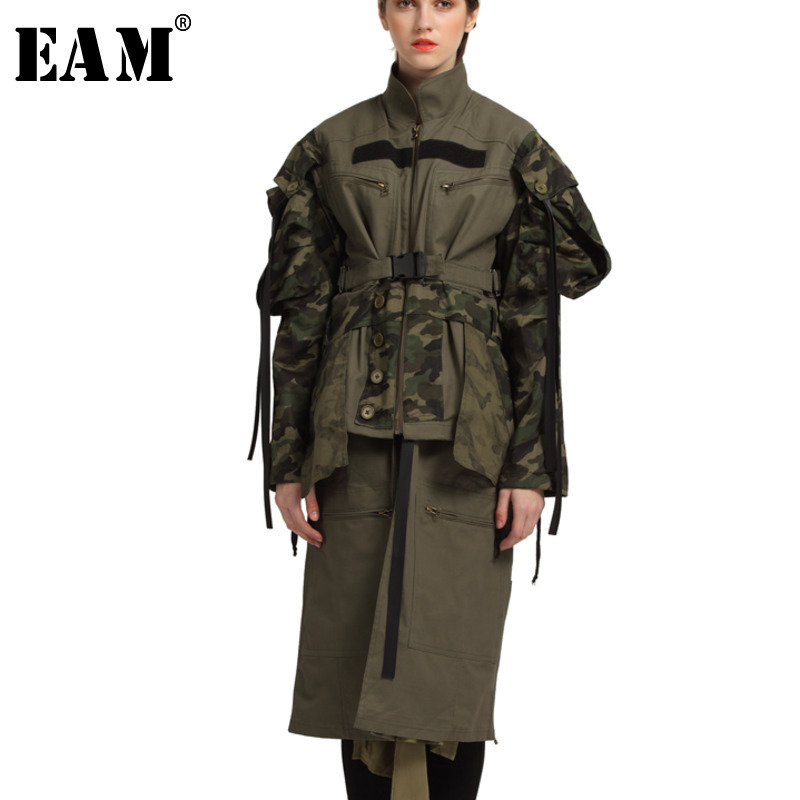 EAM 2019 Spring Woman Green Colors Stand Collar Long Sleeve Single Breated Adjustable Waist Fold