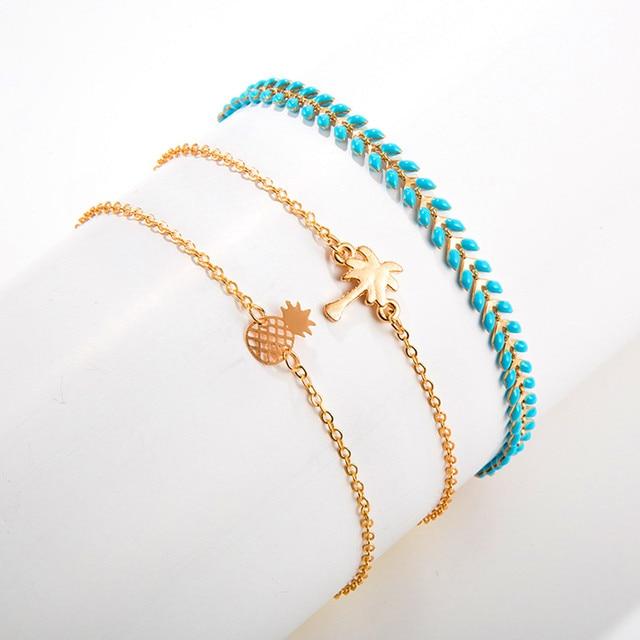 brixini.com - Coconut Tree & Pineapple Summer Beach Bracelet Set