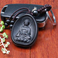 3pcs/lot llaveros Creative Personality Car Key Pendant Wood Black Amitabha Buddha carving Rosewood Buddhist Keychain Holder