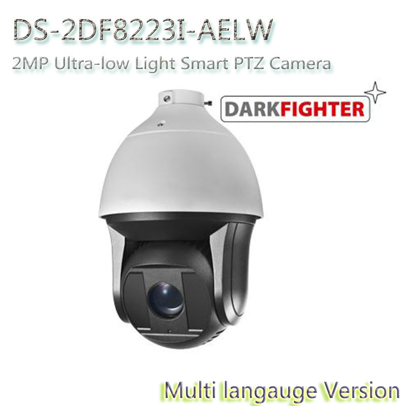 In stock Free shipping DS-2DF8223I-AELW multi language version 2MP Ultra-low Light Smart PTZ Camera, Dark fighter with wiper 2017 new ds 2df8836iv aelw english version 4k smart ir ptz camera poe camera with wiper