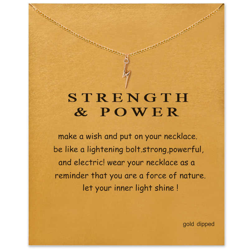 Trendy Flash Lightning Necklace For Women Minimalist Pendant Gold Color Chain Choker Necklaces Valentine's Day Gift Card