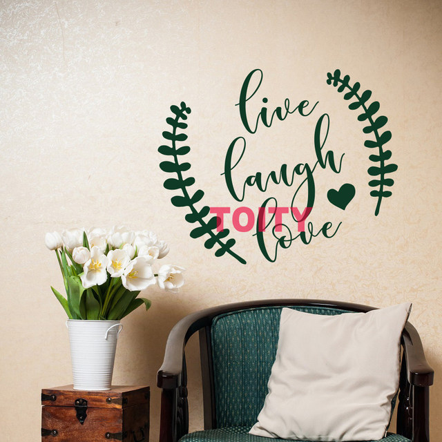 Live Laugh Love Art Vinyl Wall Decor Decal Positive Life Atude Sayings Family Home Sticker Removable Pvc