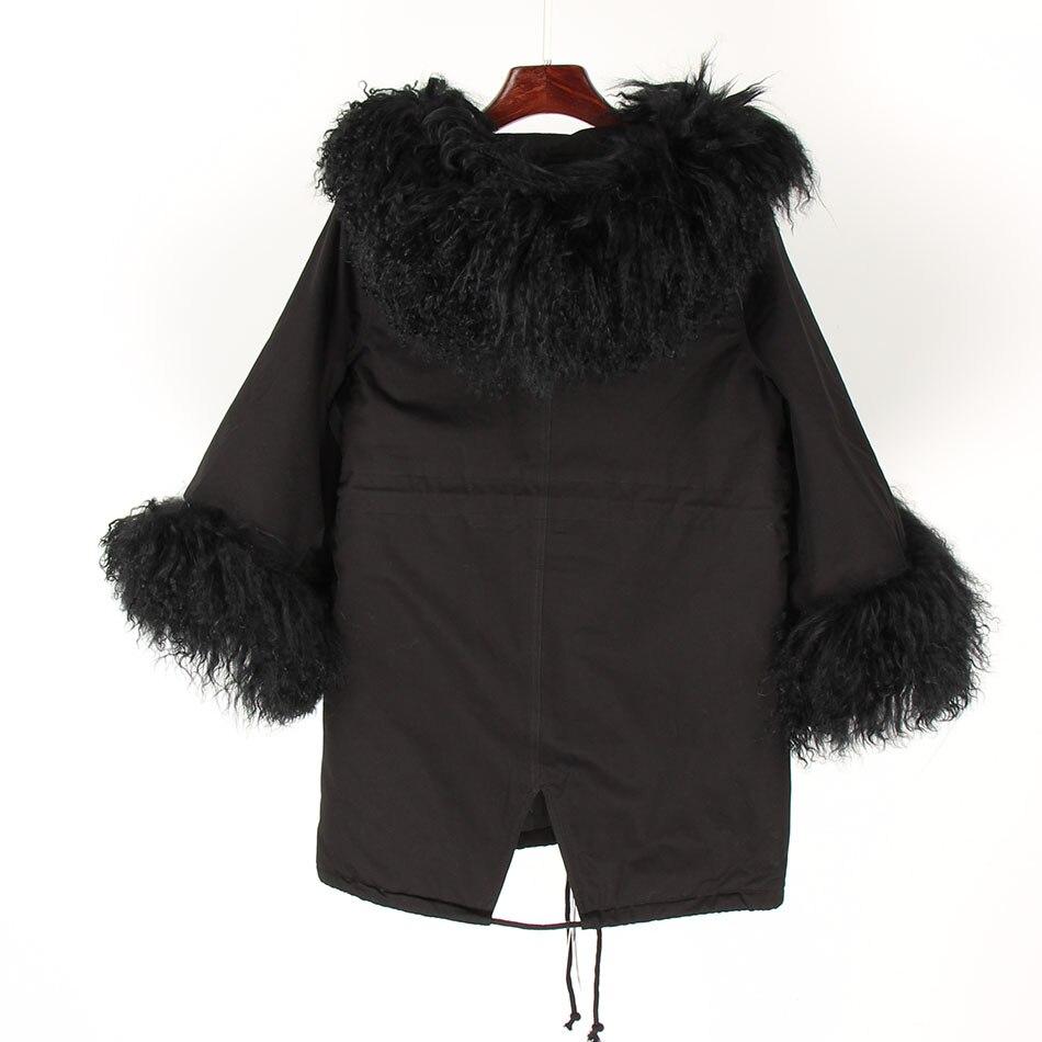 De Moutons army Mongolie Parka Col Green Survêtement Vêtements Manteau Manches Noir Réel Streetwear Veste Fourrure Femmes Hiver Capot Flare Vintage qPwUg7qX