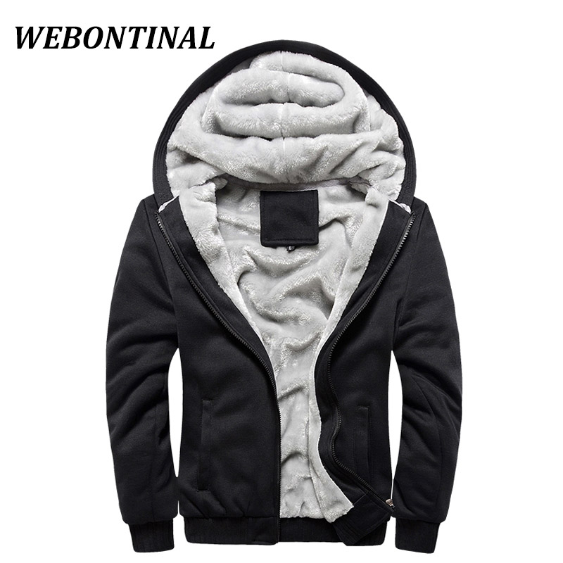 WEBONTINAL Winter Warm Fur Male Jacket For Men Coats Hooded Casual Thicken Velvet Zipper Man Jackets Brand Outerwear Tracksuit