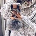 Espelho de prata Luxo Metal Corda Borla telefone Capa falso bola de pêlo de coelho Para iphone 7 7 plus 6 6 s 6 mais 4 5 s 5S se tampa traseira caso