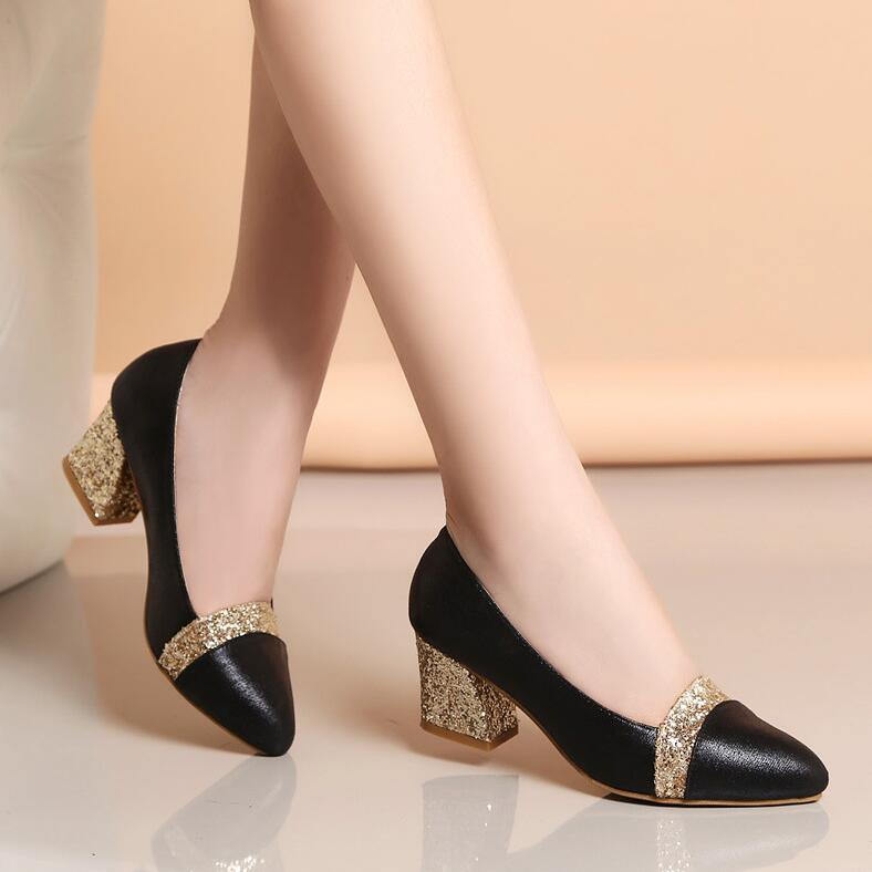 Dropshiping 2019 Women Pumps Sweet Style Square High Heel Sequins Pointed Toe Spring And Autumn Elegant Shallow Ladies Shoes
