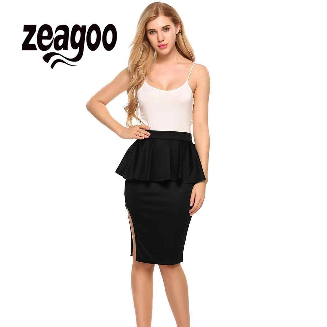 a2ba94109 None Package High Waist Peplum Women Hip Pencil Skirt Side Split Knee OL  Casual