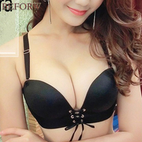 Fashion Super Push Up Bra Sexy Women Adjustable Cleavage Bra Seamless No Rims Gather Pull LB