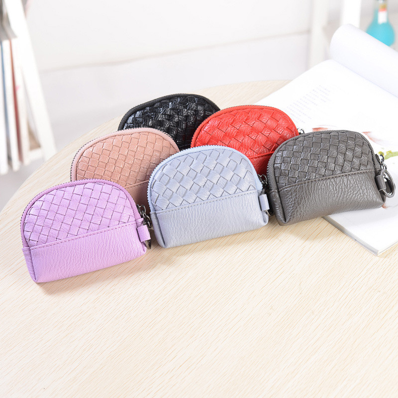Casual Vintage Small Leather Coin Pouch Girl Mini Wallets Purse Kawaii Zipper Bag Coin Pouch Cute Purse Holder With Zipper