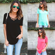 Ladies Casual Short Sleeve Tops Cotton Loose Blouse Solid Color Fashion Summer Womens Clothing