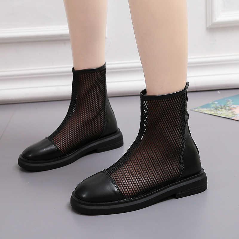 Weweya/дышащие летние ботильоны; женская крутая обувь на молнии; женские кроссовки на молнии; мягкие, розовые, черные, в стиле панк, готика; Botas Mujer