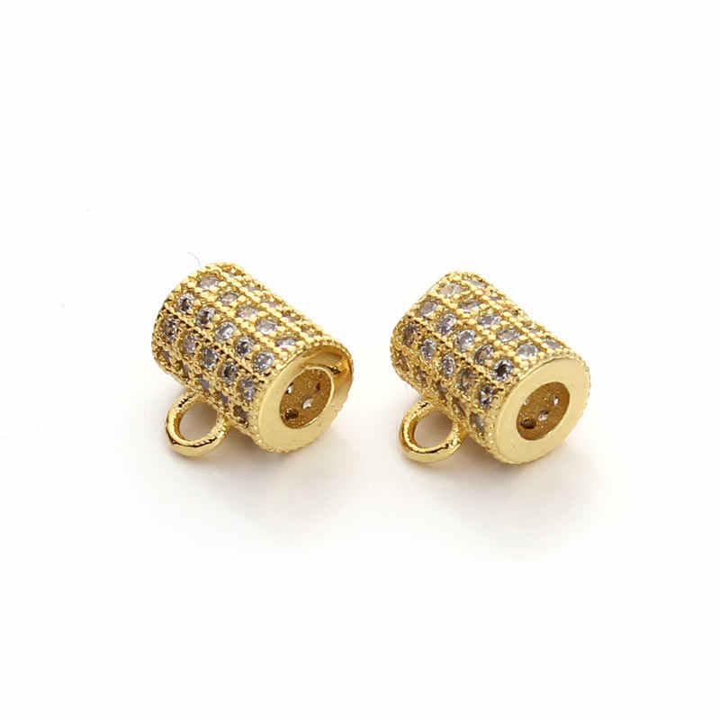 2 pcs/lot emas/rhodium/rose gold warna bail beads untuk gelang neckalce micro pave berlian imitasi konektor diy membuat perhiasan f3196