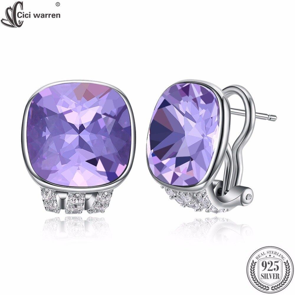 CICI WARREN Brand Fine Jewelry Women Earrings Made With Austria Crystal Clip Earrings Round Shape Earrings Brincos CWE101